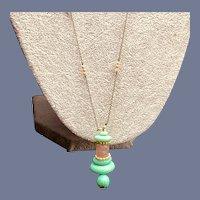 Art Deco Czech Peking Glass Stacked Pendant Necklace