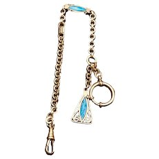Beautiful Silver and Blue Watch Fob and Matching Chain