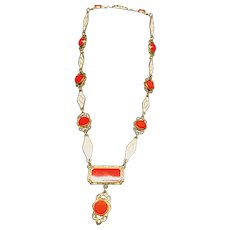 Art Deco Red and White Enamel Choker - 1920 to 1930s - Summer Fun