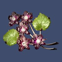 West Germany Wild Violets Brooch