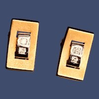 Modern Sophisticated 14K Diamond Earrings Omega Backs for the Professional