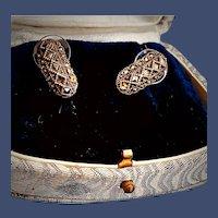 Sterling Marcasite Half Hoop Pierced Earrings