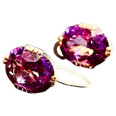 Large 14K Gold Amethyst Earrings More than 12 Carats