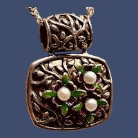 Vintage Sterling and Enamel Bouquet with Faux Pearl Flowers Pendant