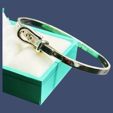Hinged Sterling Silver Buckle Bangle