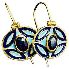 Sapphire Vermeil 14K Gold Over Sterling Silver Enameled Earrings