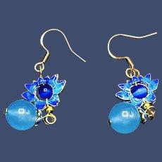 Vintage Moonstone Flower Dangle Earrings