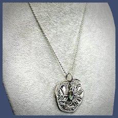Sterling Silver Lotus Leaf Pendant Necklace