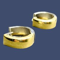 14k White and Yellow Gold Huggie Round Hoop Reversible Earrings