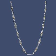 Antique French Silver Filigree 22-inch Long Layering Chain