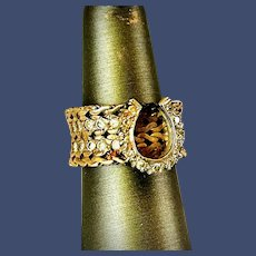 14K Yellow Gold and Diamond Horseshoe Ring - Size 7