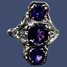 Art Deco 14K White Gold Amethyst Filigree Ring