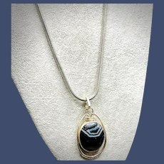 Banded Agate Sterling Silver Pendant Necklace