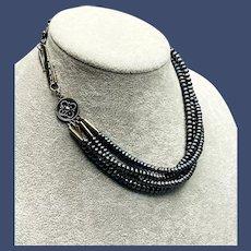 Vintage  4-strand Freshwater Black Pearl Necklace