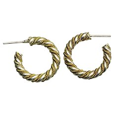 Sterling Silver and Yellow Gold Hoop Earrings