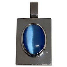 Vintage Heavy Sterling Silver Blue Cat's Eye Moonstone Pendant