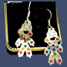 Vintage Articulated Enamel and Sterling Clown Earrings