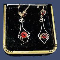 Vintage Sterling Silver Red Garnet Dangle Earrings