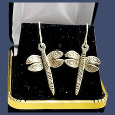 Sterling Silver Dragonfly Earrings Signed Roggio