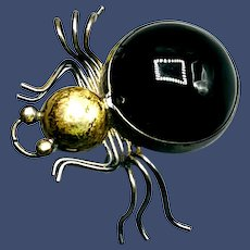 Sterling Silver and Onyx Spider Brooch/Pendant