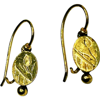 Antique Victorian Etched 14K Gold Dormeuse Earrings