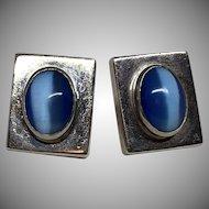 Vintage Sterling Silver Blue Cat's Eye Moonstone Pierced Earrings