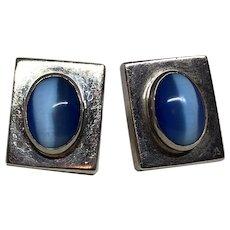 Vintage Sterling Silver Blue Faux Moonstone Pierced Earrings