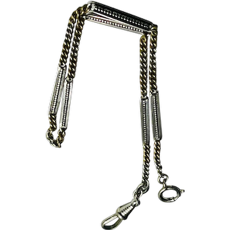 Engraved Nickel Silver Watch Chain