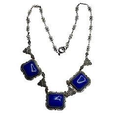 Art Deco Czech Neiger Electric Blue Art Glass Silver Necklace