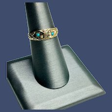 Antique Victorian 14K Gold Turquoise and Seed Pearl Ring