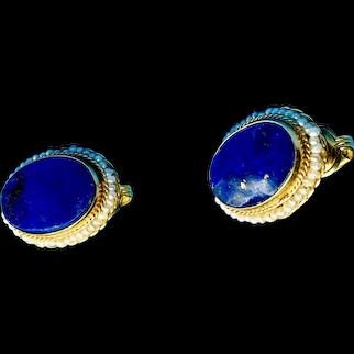 14K GF Lapis and Seed Pearls Clip Earrings