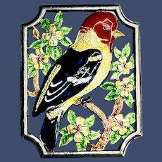 Vintage Bird on Dogwood Tree Sterling Enamel Brooch
