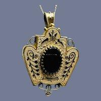 Antique Enamel Victorian Era Brooch/Pendant Necklace
