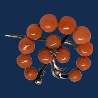 Antique Coral Clover Brooch From 1870 to 1900