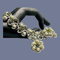 Trifari Grey Faux Pearls and Rhinestones Bracelet and Earrings