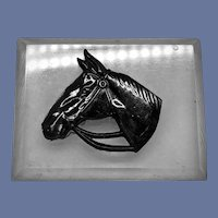 Vintage Large Black Bakelite Horse Head on Lucite Brooch