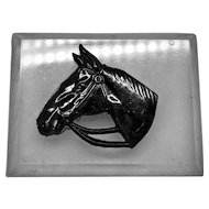 Vintage Large Black Horsehead on Clear Lucite Brooch