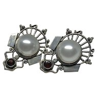 Large Mabe Pearl and Garnet Silver Earrings