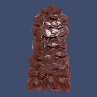 Antique Chinese Cinnabar Carved Dress Clip