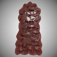Vintage Chinese Cinnabar Carved Dress Clip
