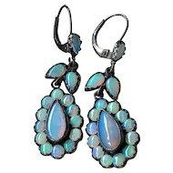 Fiery Rainbow Opal Earrings Set in Oxidized Sterling