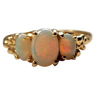 Three-stone Opal Ring - 14k Yellow Gold Oval Cabochon Opals 1.40ctw