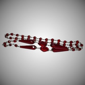 Flapper Czechoslovakian Glass Deep Red Beads and Silver Necklace