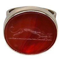 Gold 18K Ring with Unusual Intaglio - 20.3 Grams