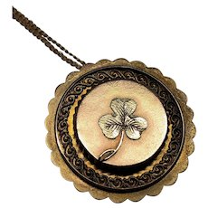 Antique Victorian Mourning Locket Pendant and Chain