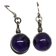 Vintage Boho Silver Amethyst Earrings