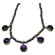 Vintage Silver Boho Amethyst Necklace