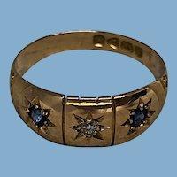 Edwardian 18K Sapphire Diamond Gypsy Ring - 1911 Birmingham