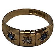 Antique 18K Edwardian Sapphire and Diamond Gypsy Ring - 1911 Birmingham