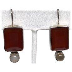 Vintage Carnelian and Moonstone Silver Earrings
